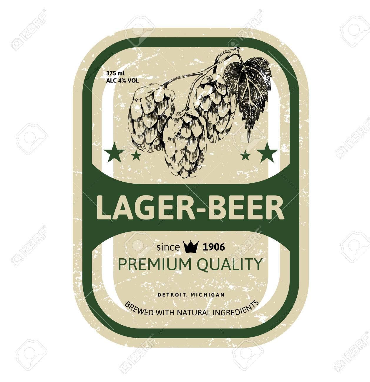 Beer label design with hand drawn hop brunch - 48364414