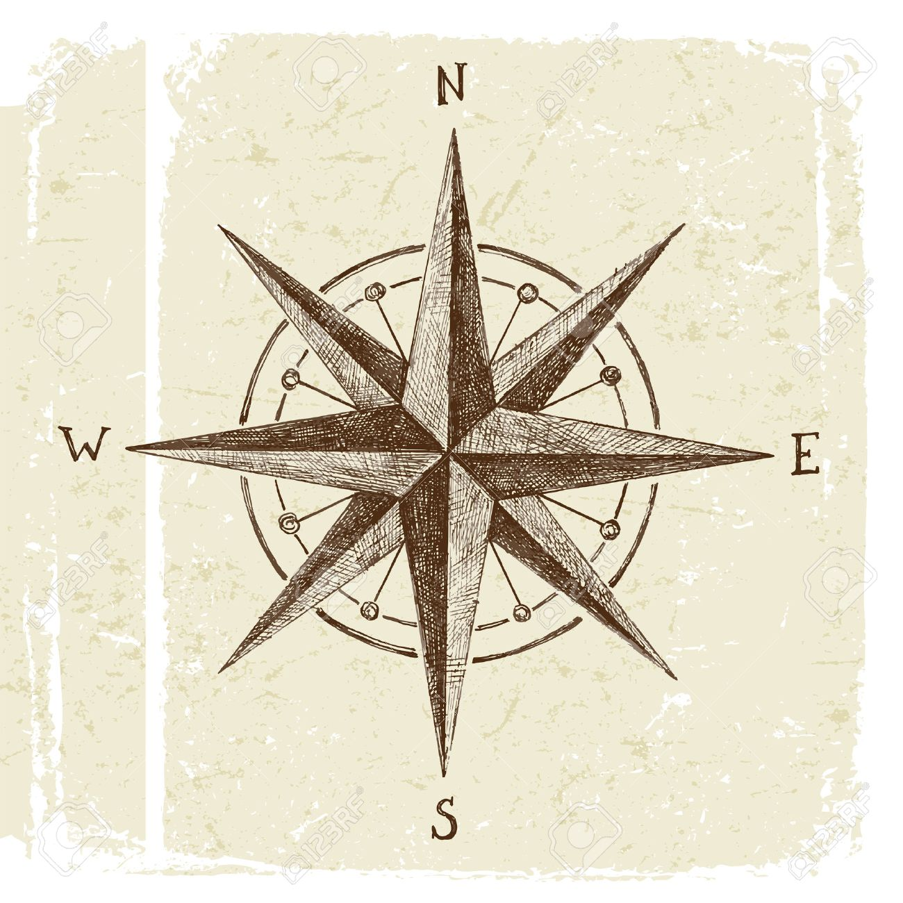 hand drawn wind rose in vintage style - 48491050