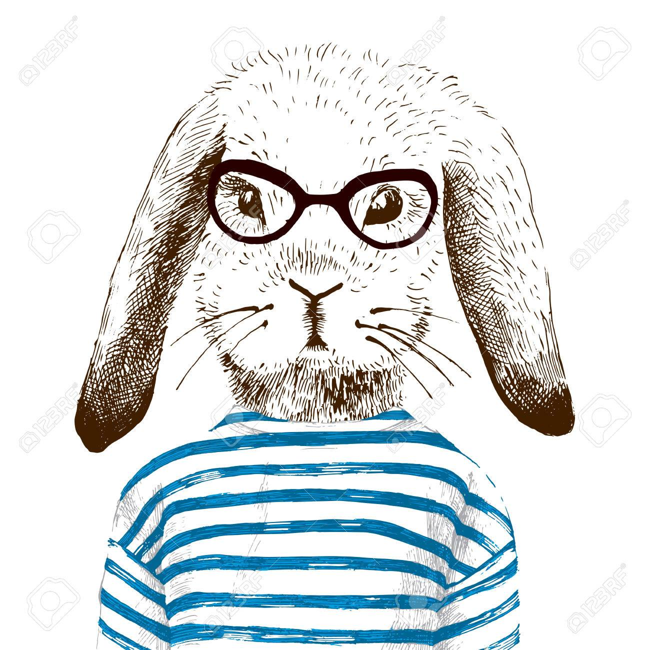 hand drawn illustration of dressed up bunny - 50463964