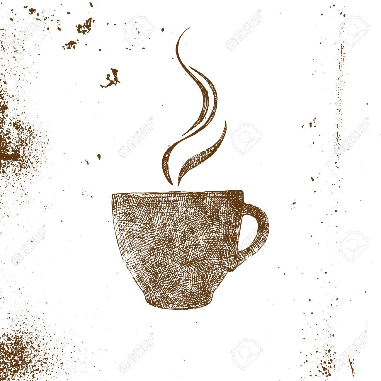 Hand Gezeichnete Kaffeetasse Auf Weißen Hintergrund Lizenzfrei