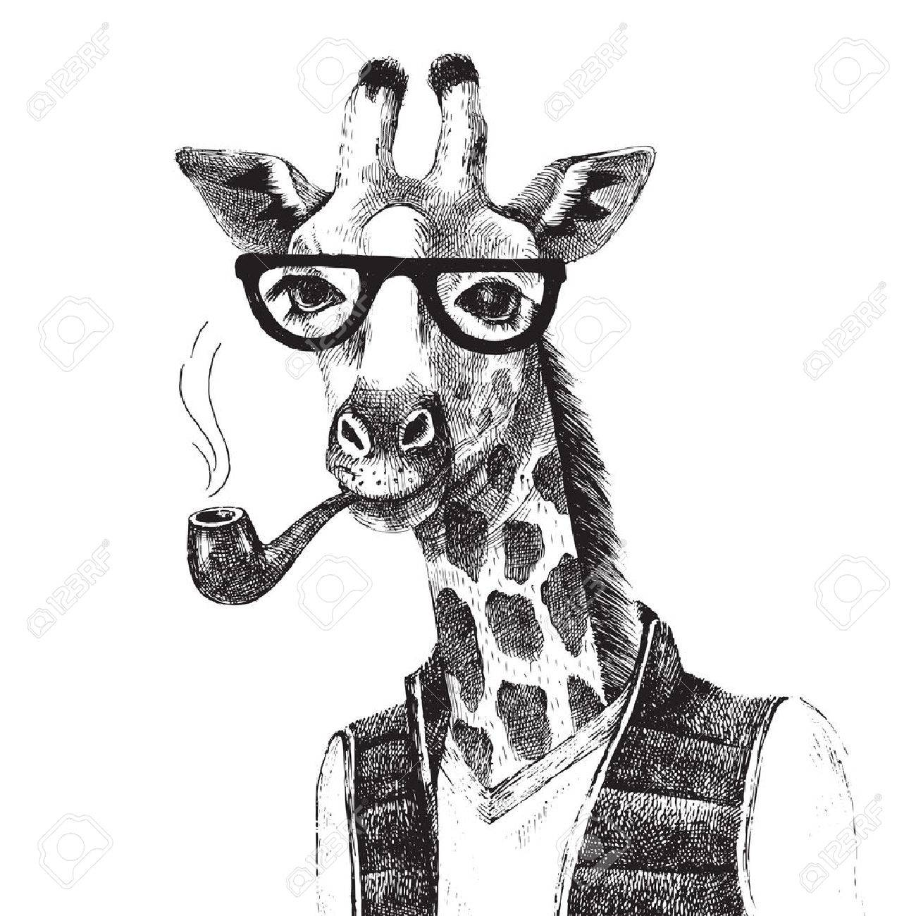Hand drawn Illustration of dressed up giraffe hipster - 51908621