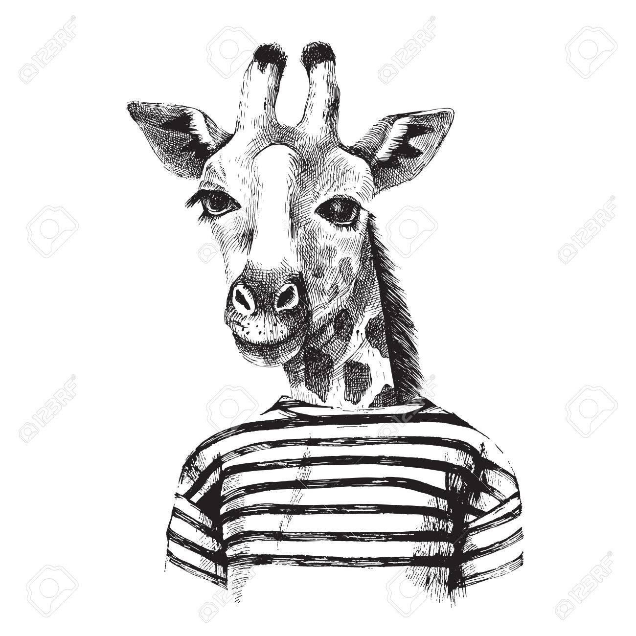Hand drawn Illustration of dressed up giraffe hipster - 52068958