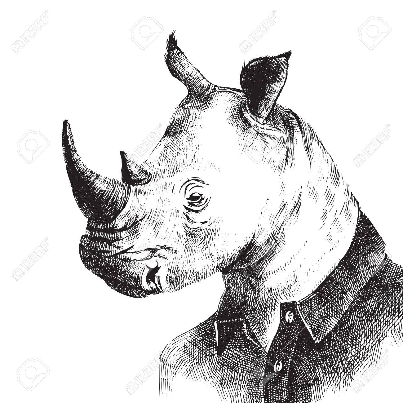 Hand drawn black and white dressed up rhino in hipster style - 52068975