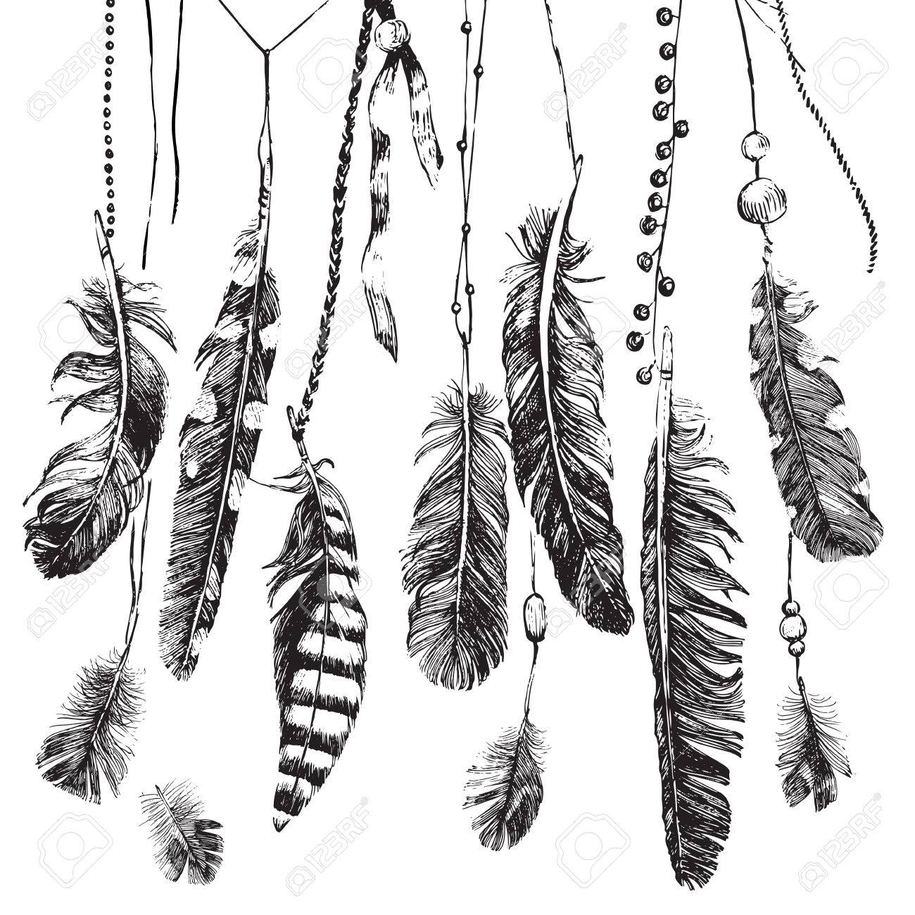 Tribal theme background with hand drawn feathers - 55366943