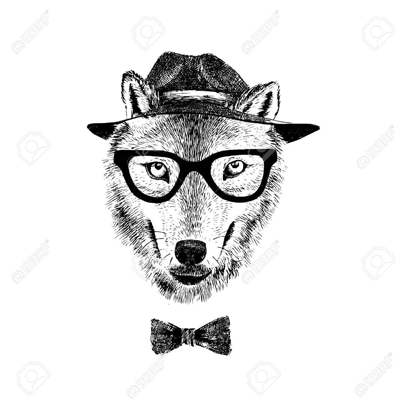 dressed up hand drawn wolf hipster stock vector 55366962