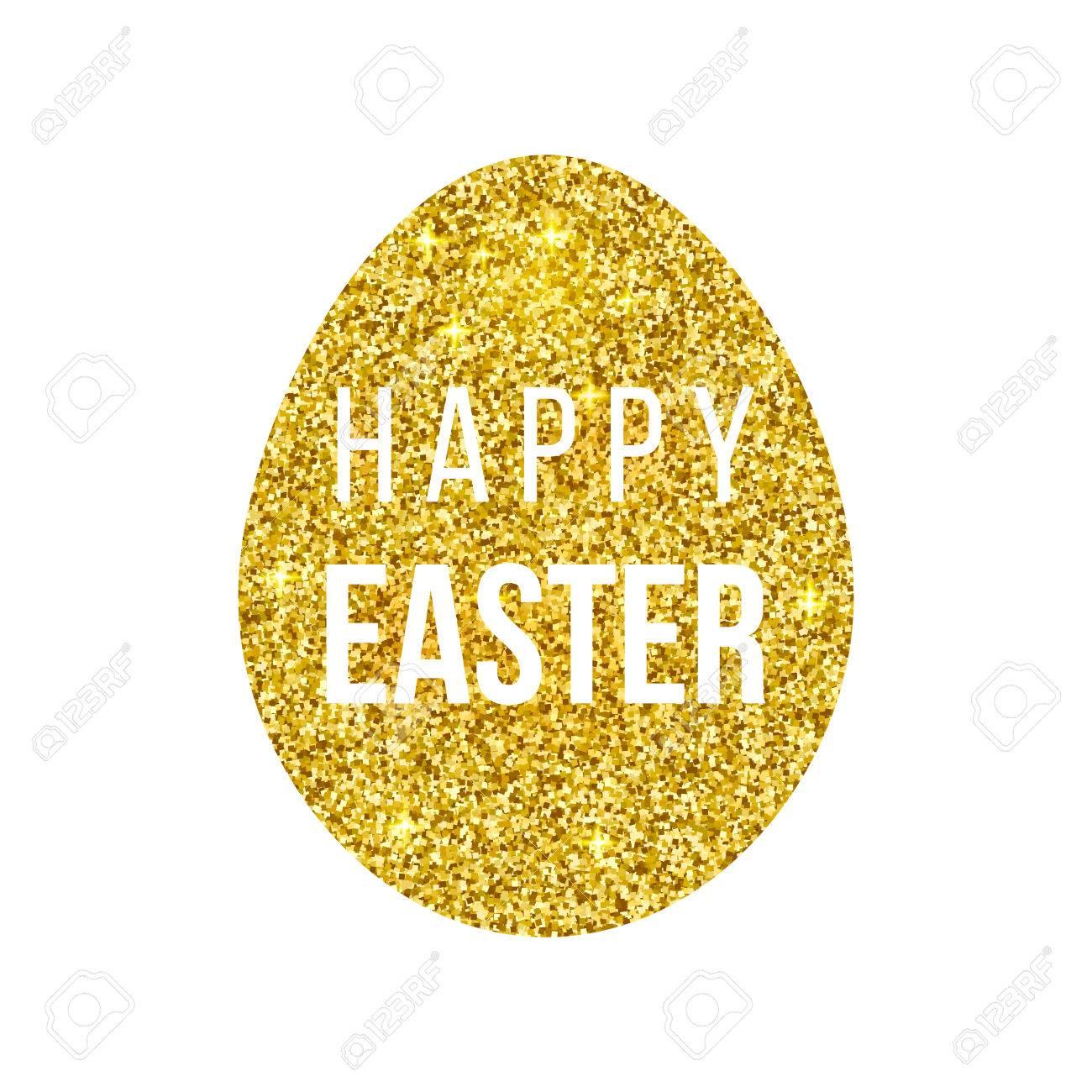Happy Easter golden egg on black background - 55367064