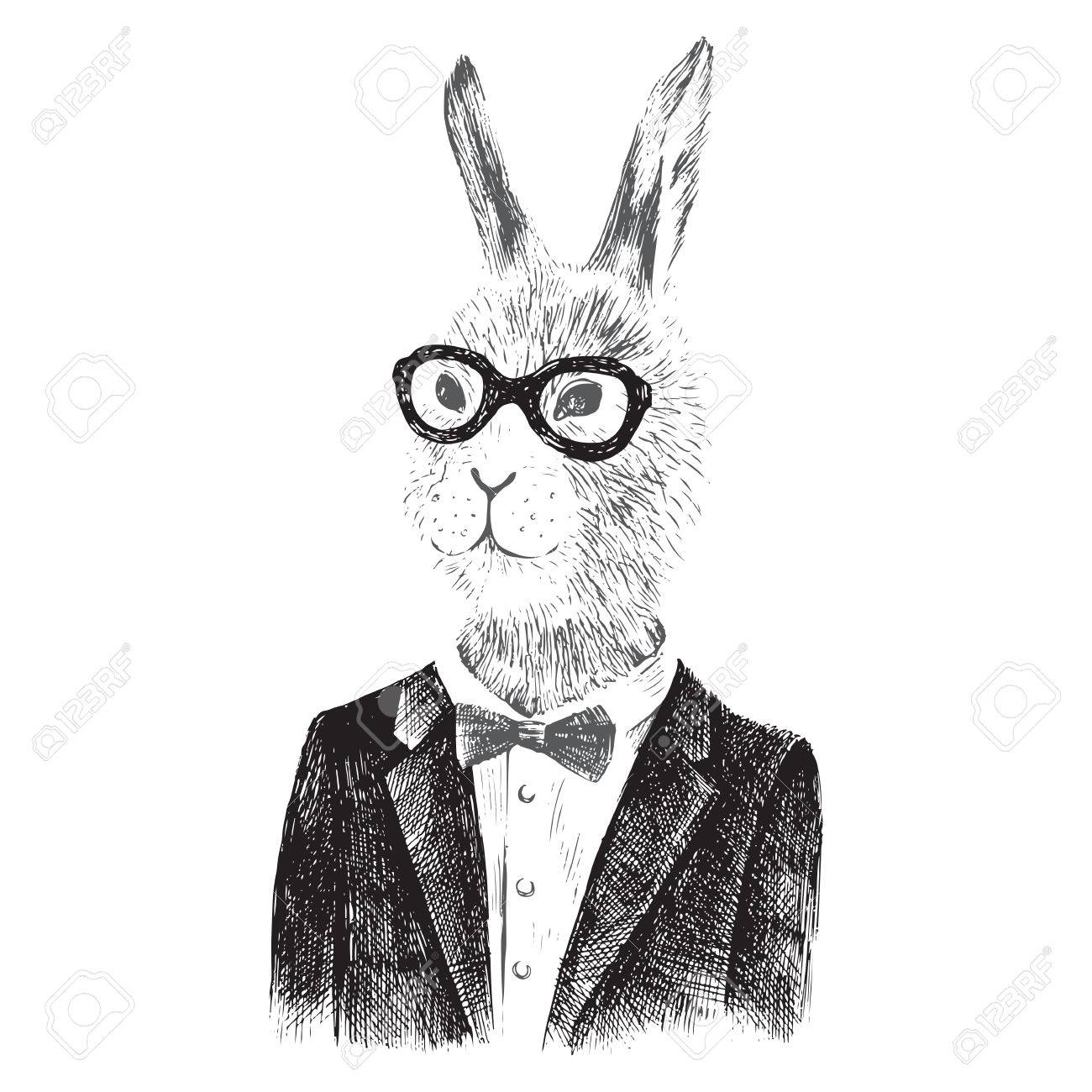 Hand drawn dressed up bunny boy in hipster style - 55367192