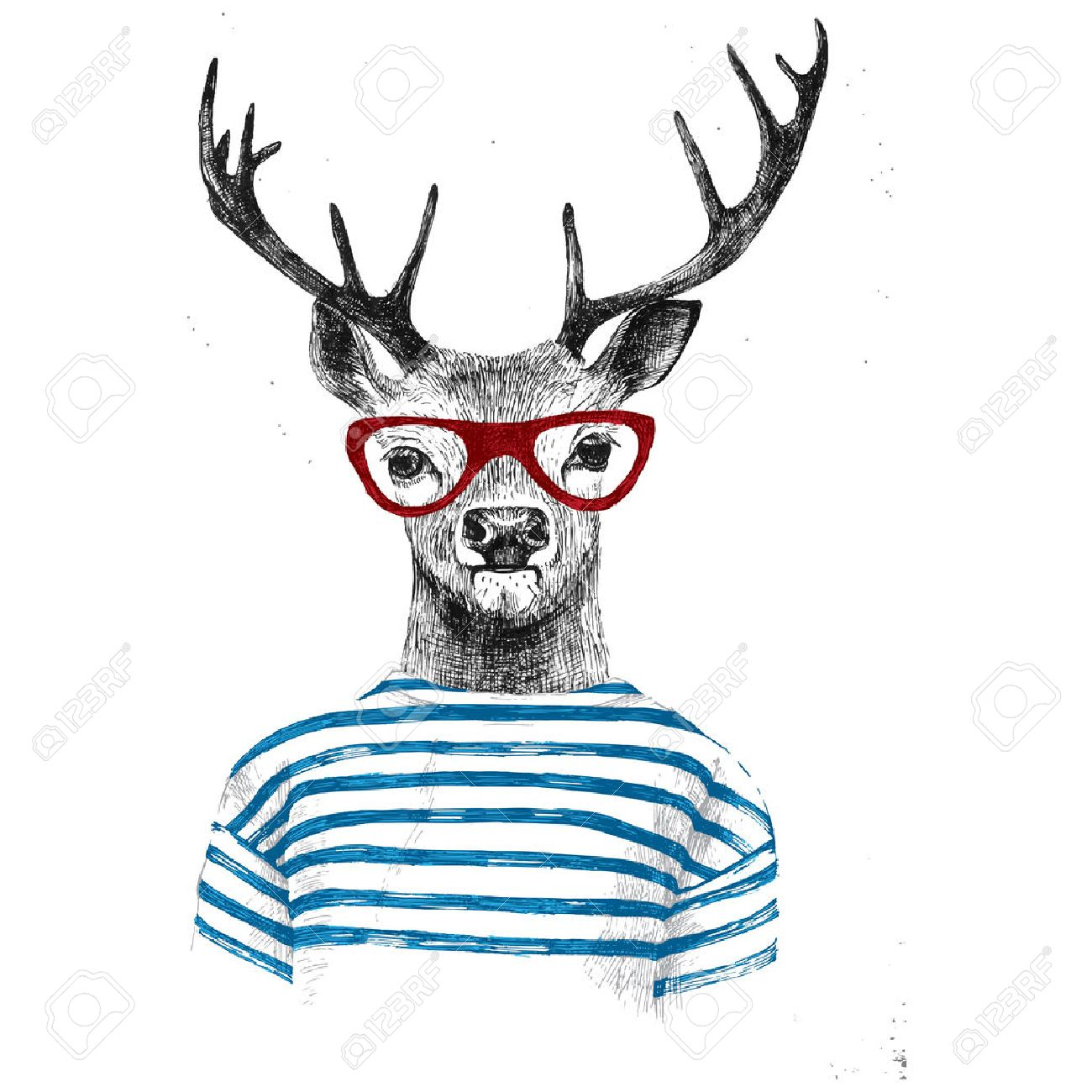 Hand drawn dressed up deer in hipster style - 55367714