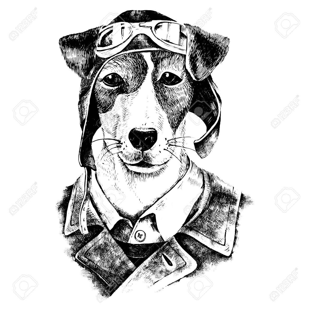 Hand drawn black and white dressed up dog aviator - 58842926