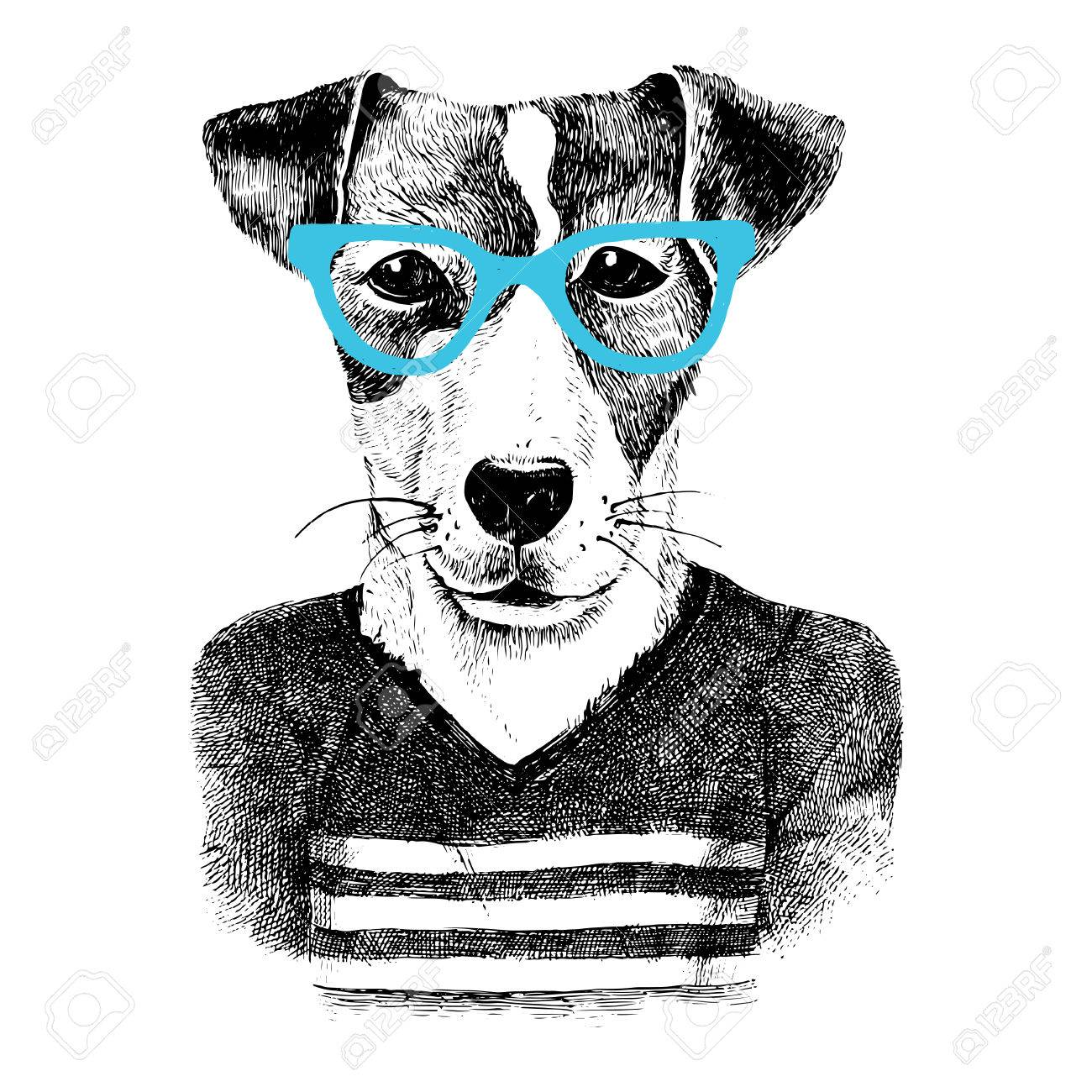 Hand drawn dressed up dog in hipster style - 58842932