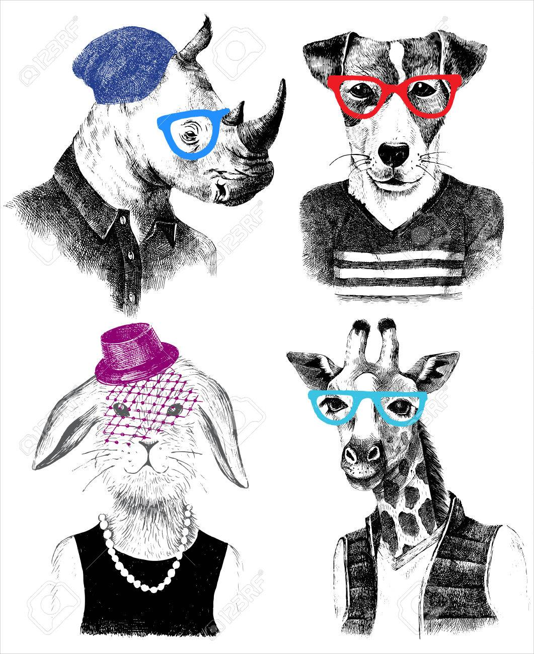 Hand drawn dressed up animals set in hipster style - 58842967