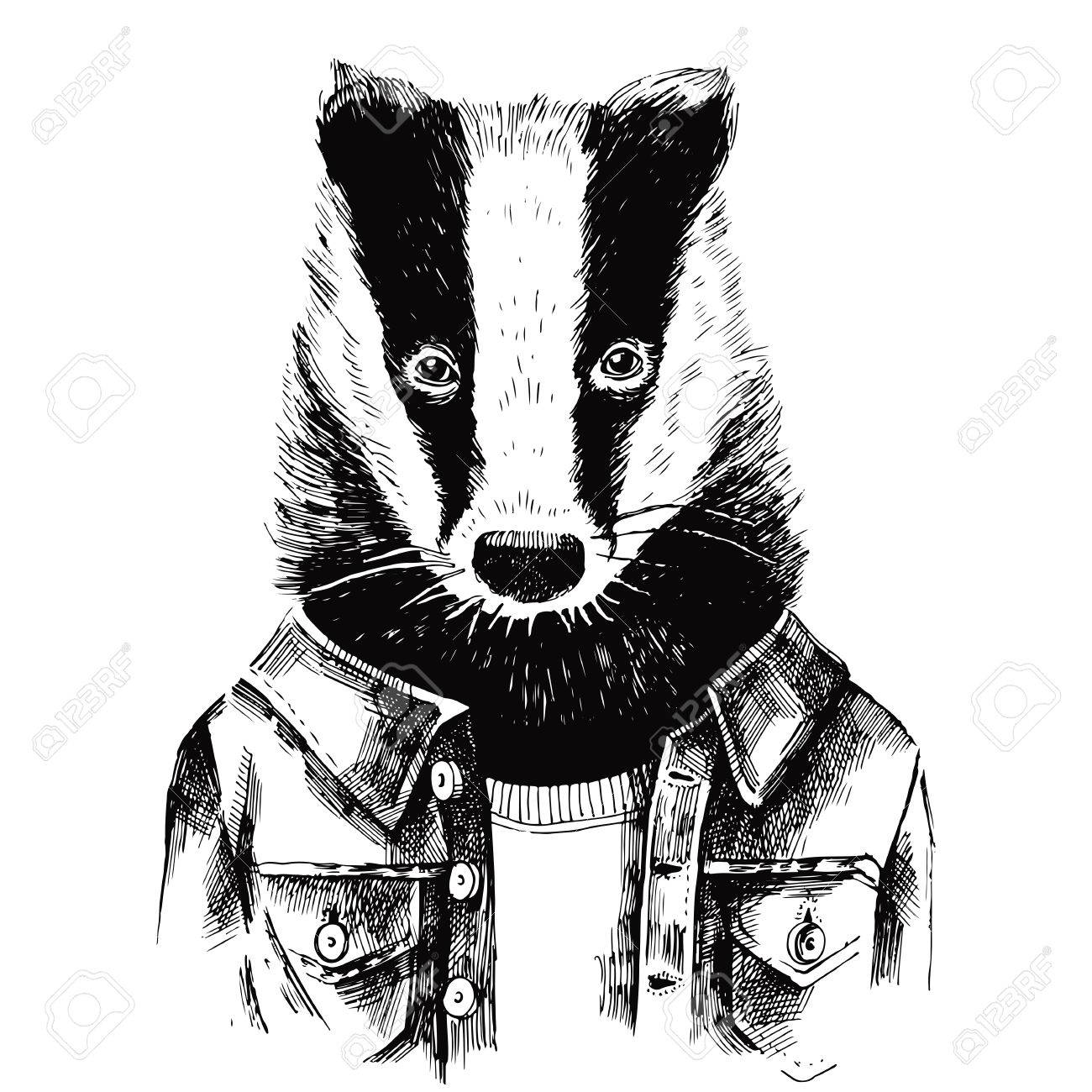 Hand drawn dressed up black and white badger in hipster style - 64111104