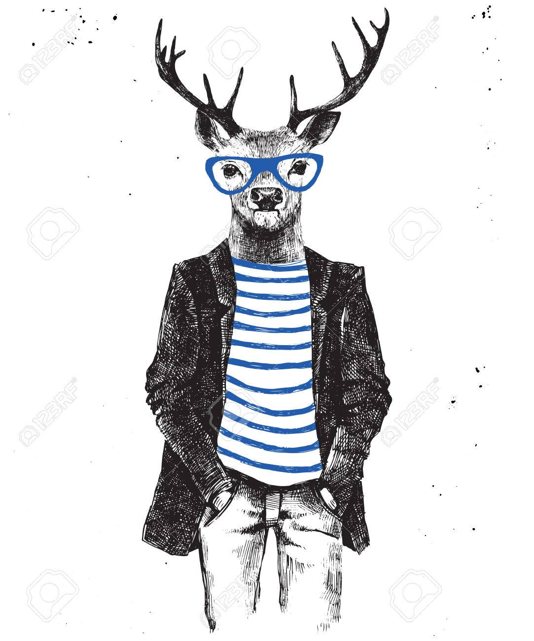 Hand drawn dressed up hipster deer. Vector illustration in hipster style - 64111180