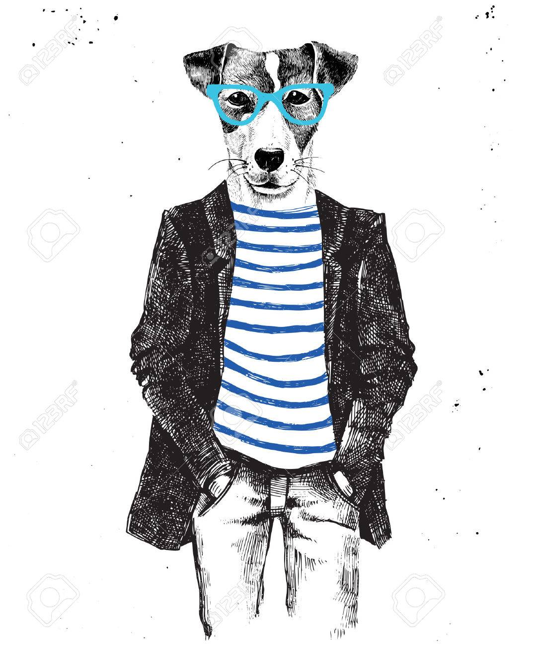 Hand drawn dressed up hipster dog. Vector illustration in hipster style - 64111181