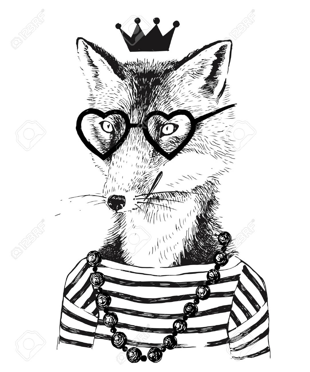 Hand drawn black and white dressed up fennec in hipster style - 64111215
