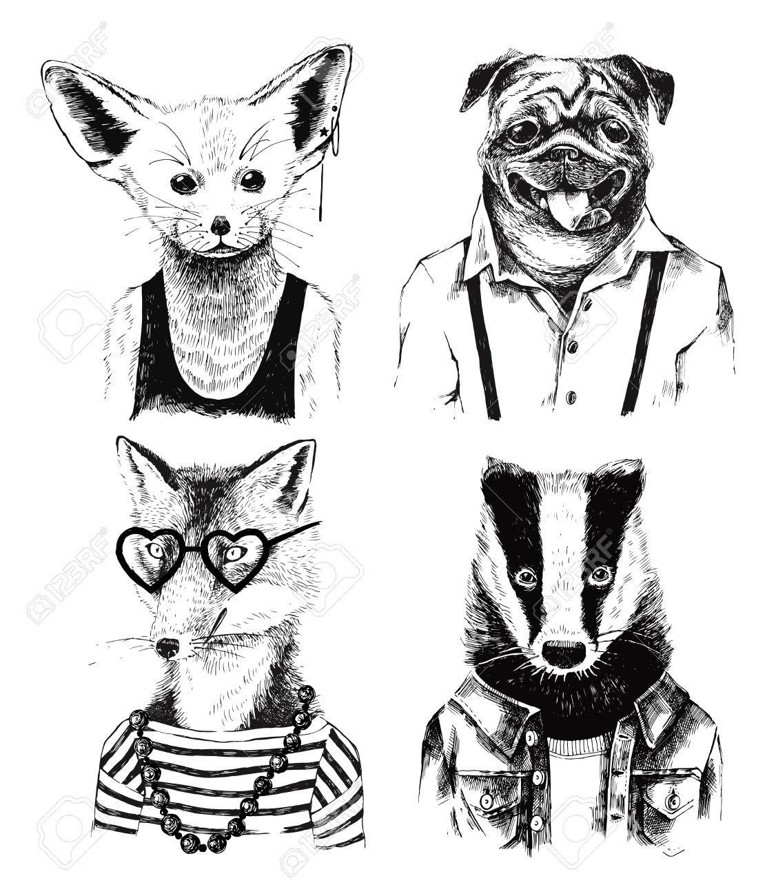 Hand drawn dressed up black and white badger in hipster style - 64111249