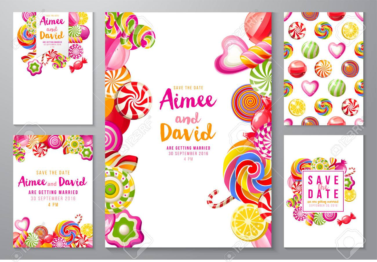 5 bright save the date backgrounds with candies - 64111260