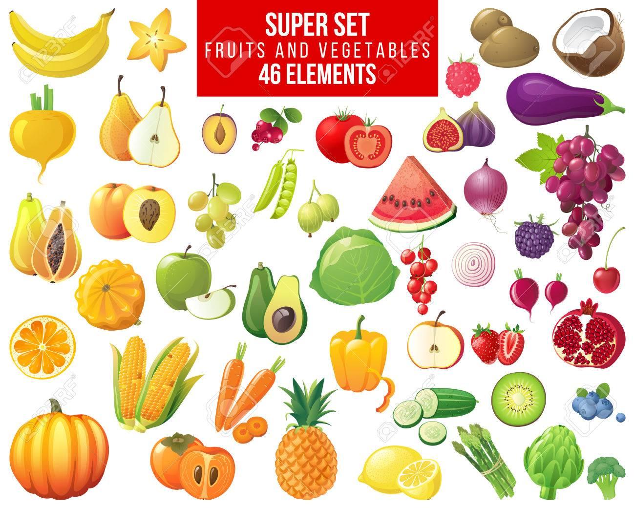 fruits, vegetables and berries super set - 46 elements - 64111443