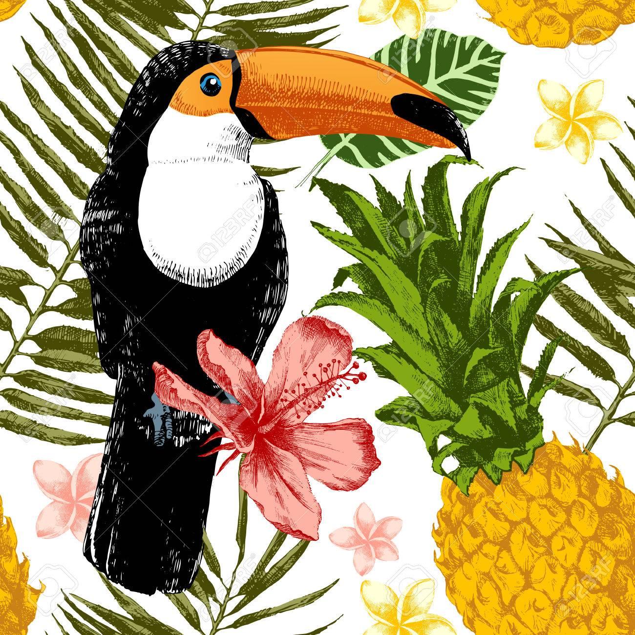 Bright hand drawn tropical seamless pattern. - 64111495