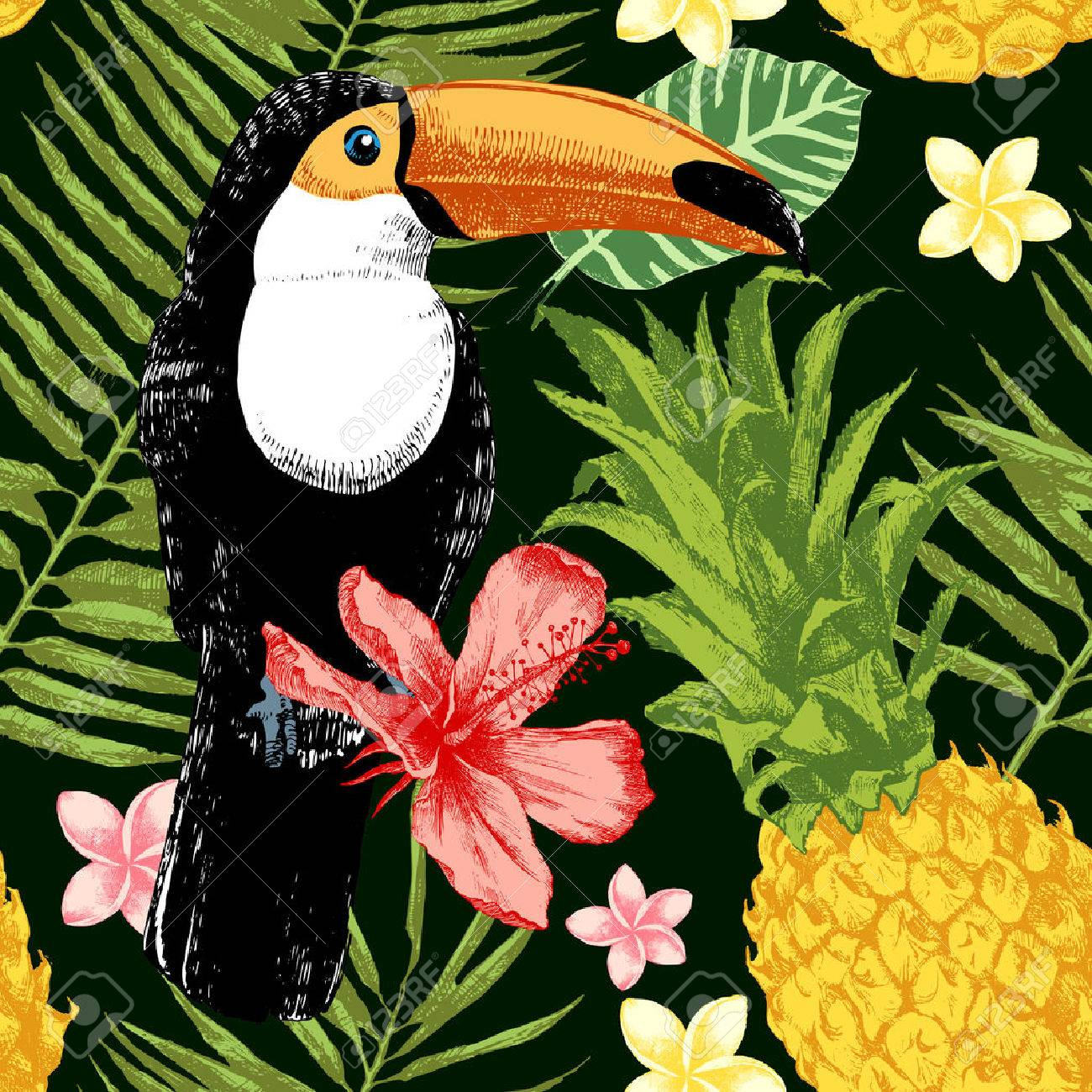 Bright hand drawn tropical seamless pattern. Tropical theme background. - 64111497