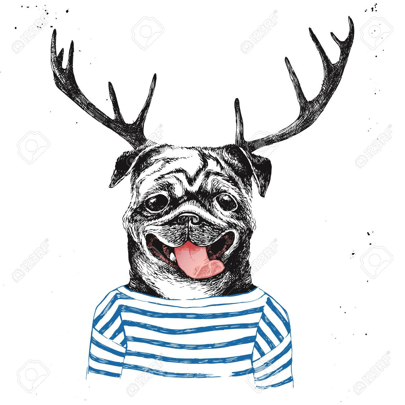 Hand drawn dressed up pug in hipster style with deer horns - 64111525