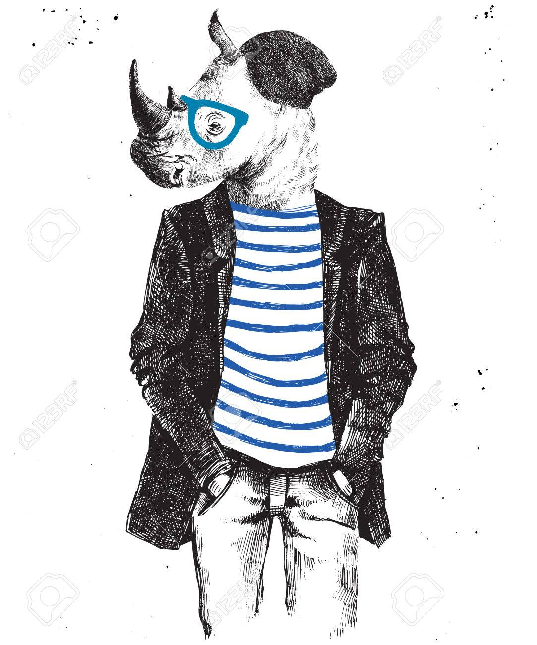 Hand drawn dressed up hipster rhino. Vector illustration in hipster style - 64111530
