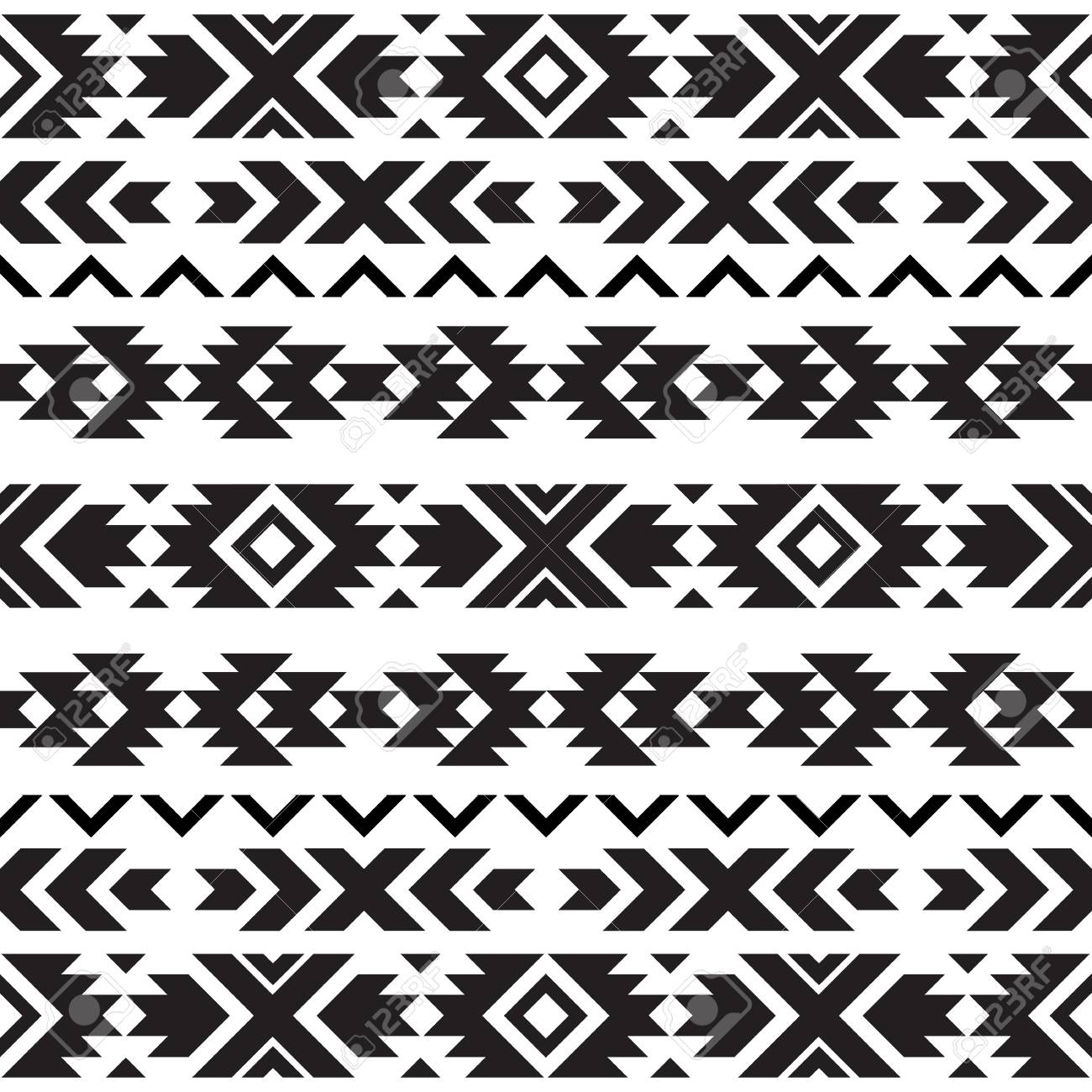 Seamless tribal black and white pattern - 102216823