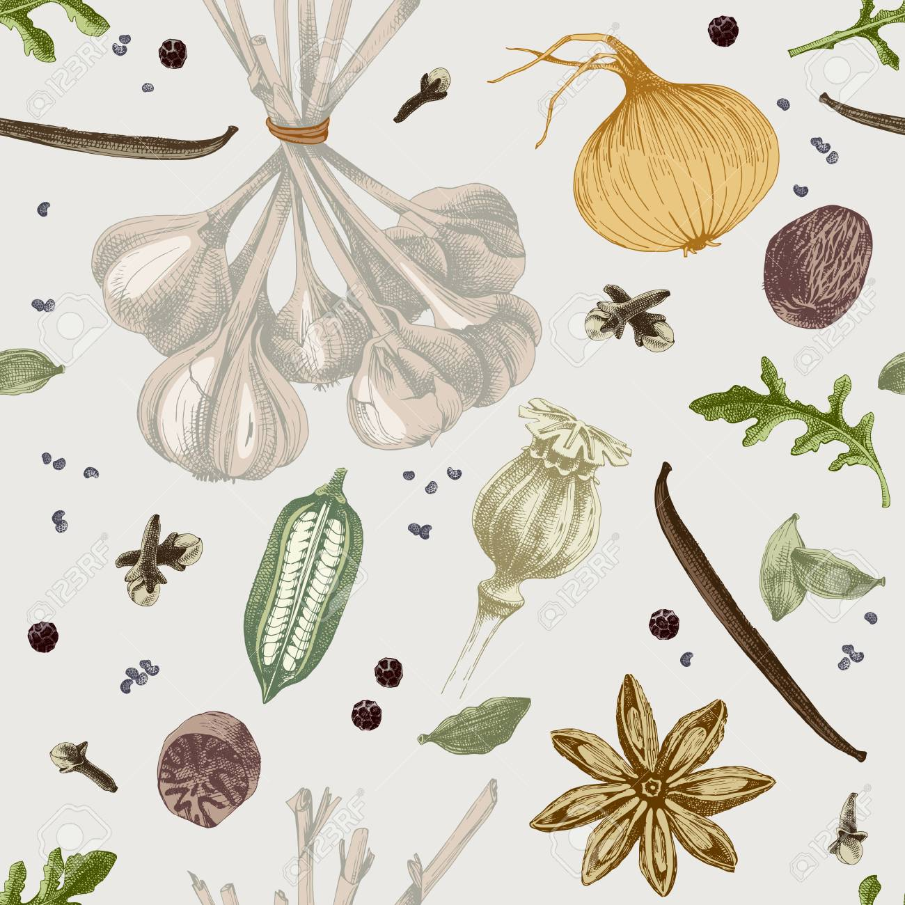 Hand drawn seamless pattern with spices. Vector illustration in vintage style - 111967831