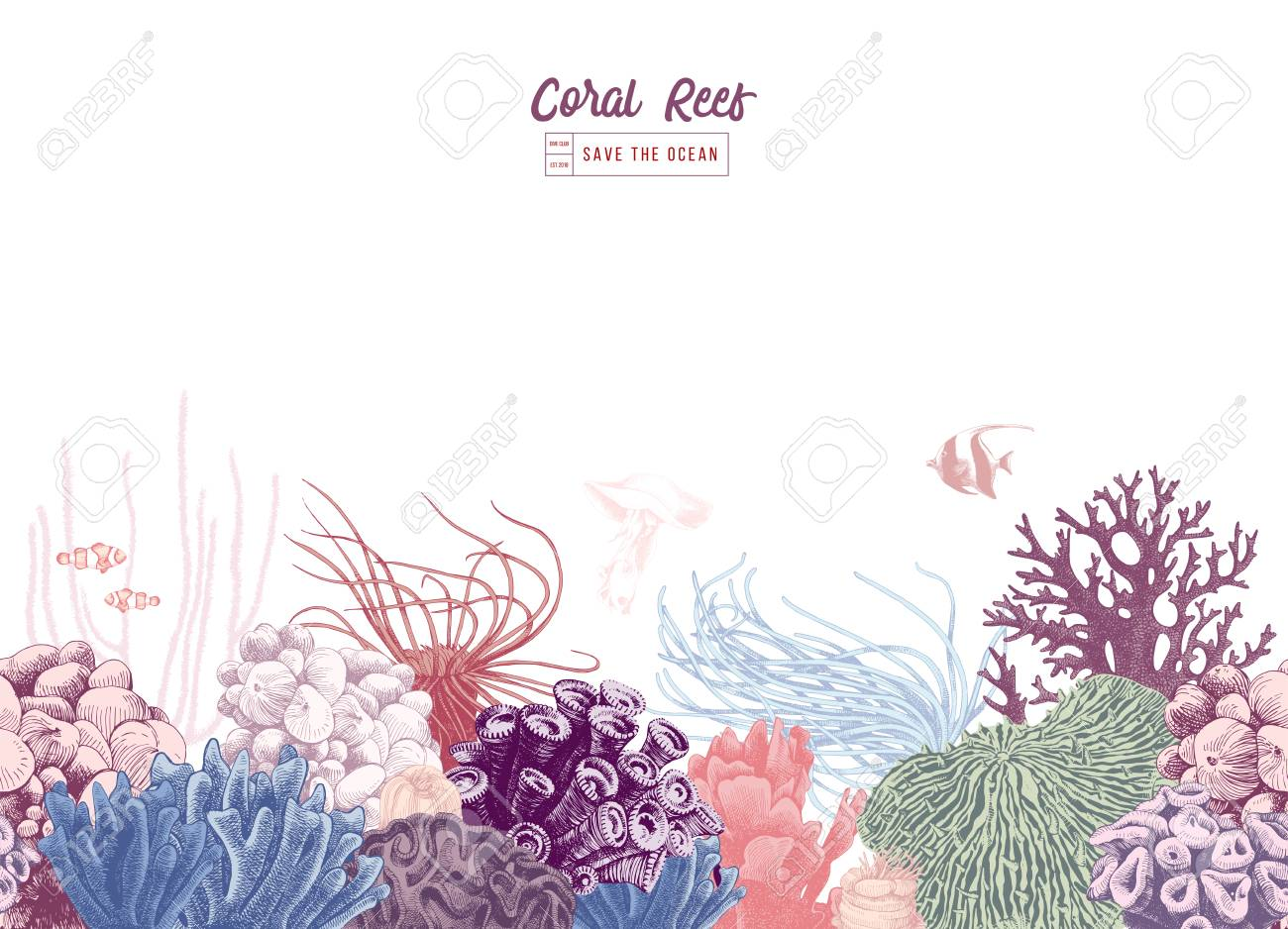 Hand drawn colorful seamless coral border. Vector illustration - 111801373