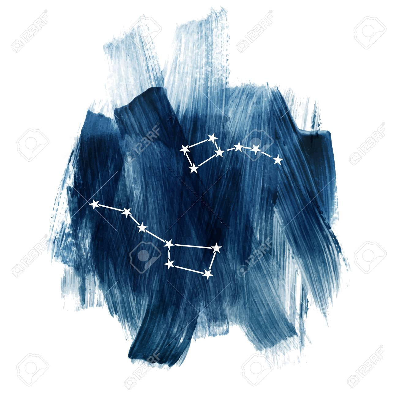 107373228 round composition with big dipper and little dipper constellations over dark blue sky vector illustr round composition with big dipper and little dipper constellations