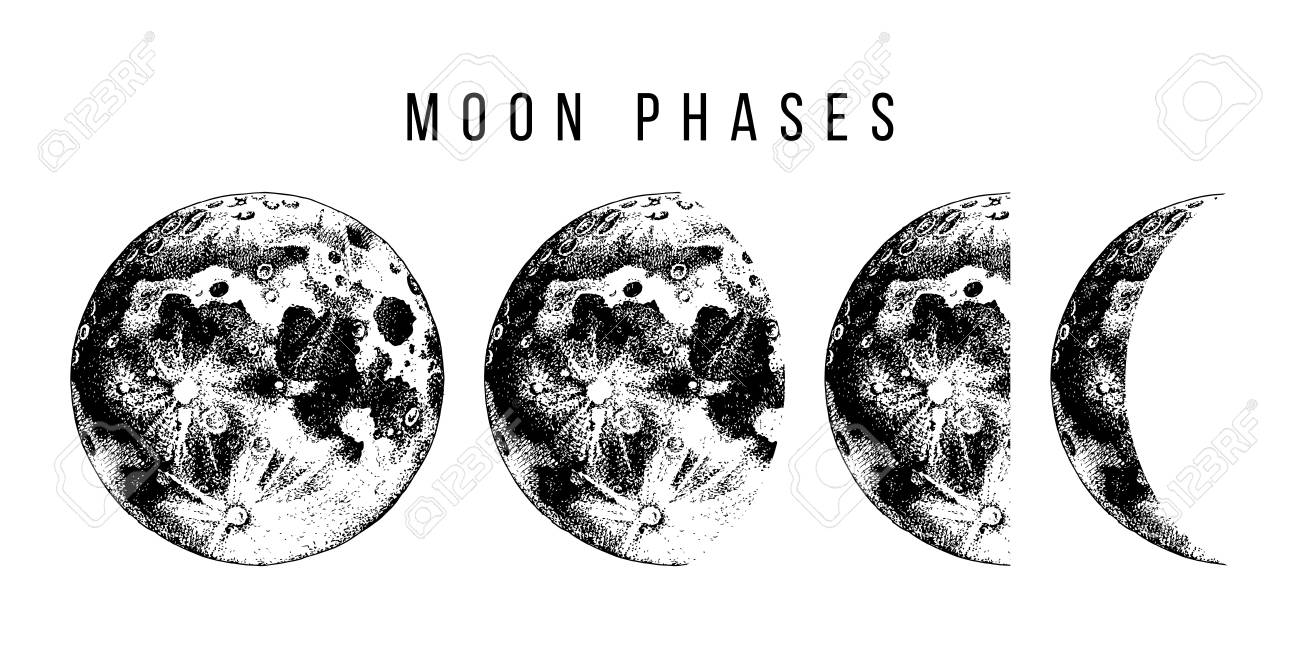 Moon phases. Hand drawn vector illustration - 107542298