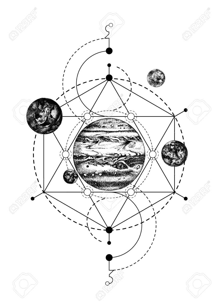 Sacred geometry background with Jupiter - 109807549