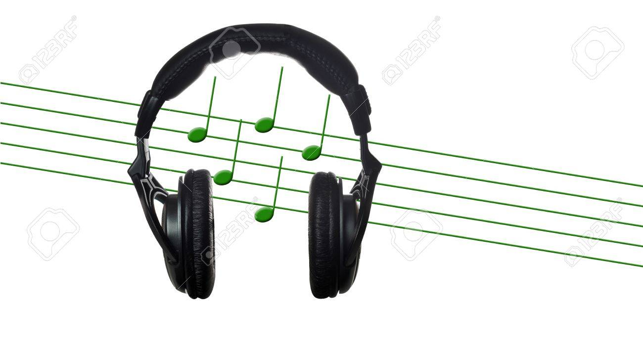 Black headphones with musical score on white Stock Photo - 12886899