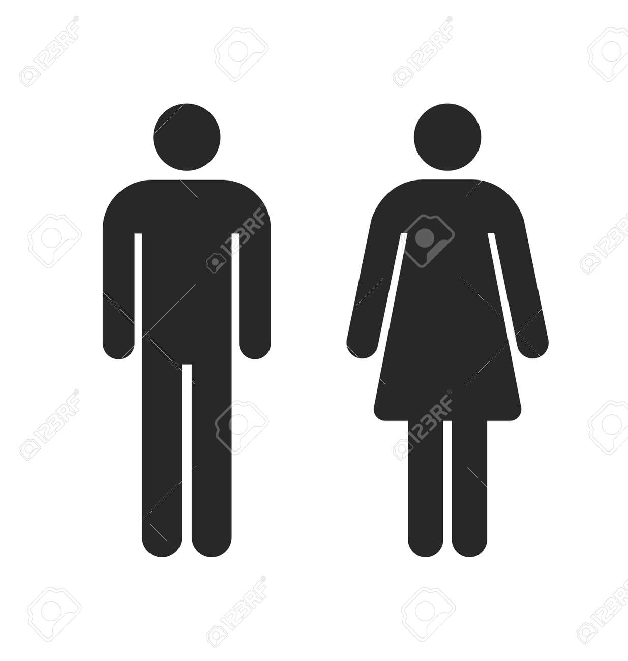 restroom toilet symbols outlines male and female simple silhouettes vector - 166409971