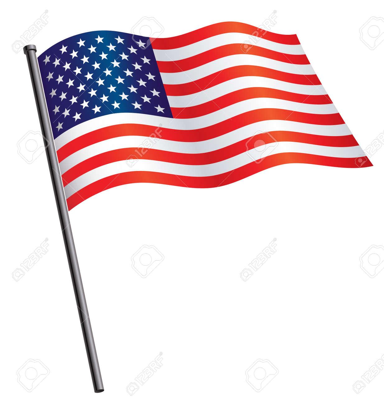 USA flag flying waving on flag pole silk vector - 167066042