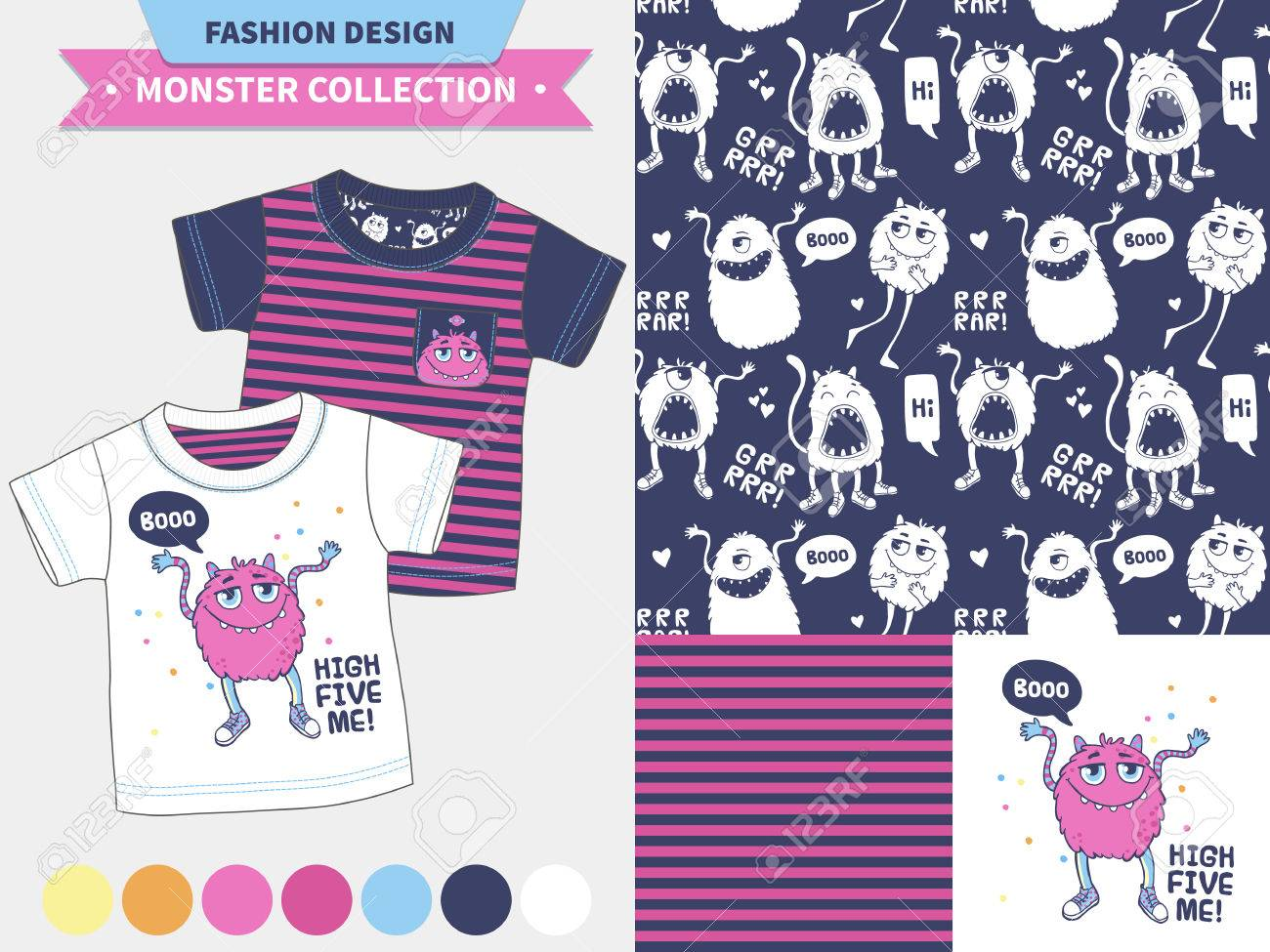monster collection vector fashion design set for baby and kids