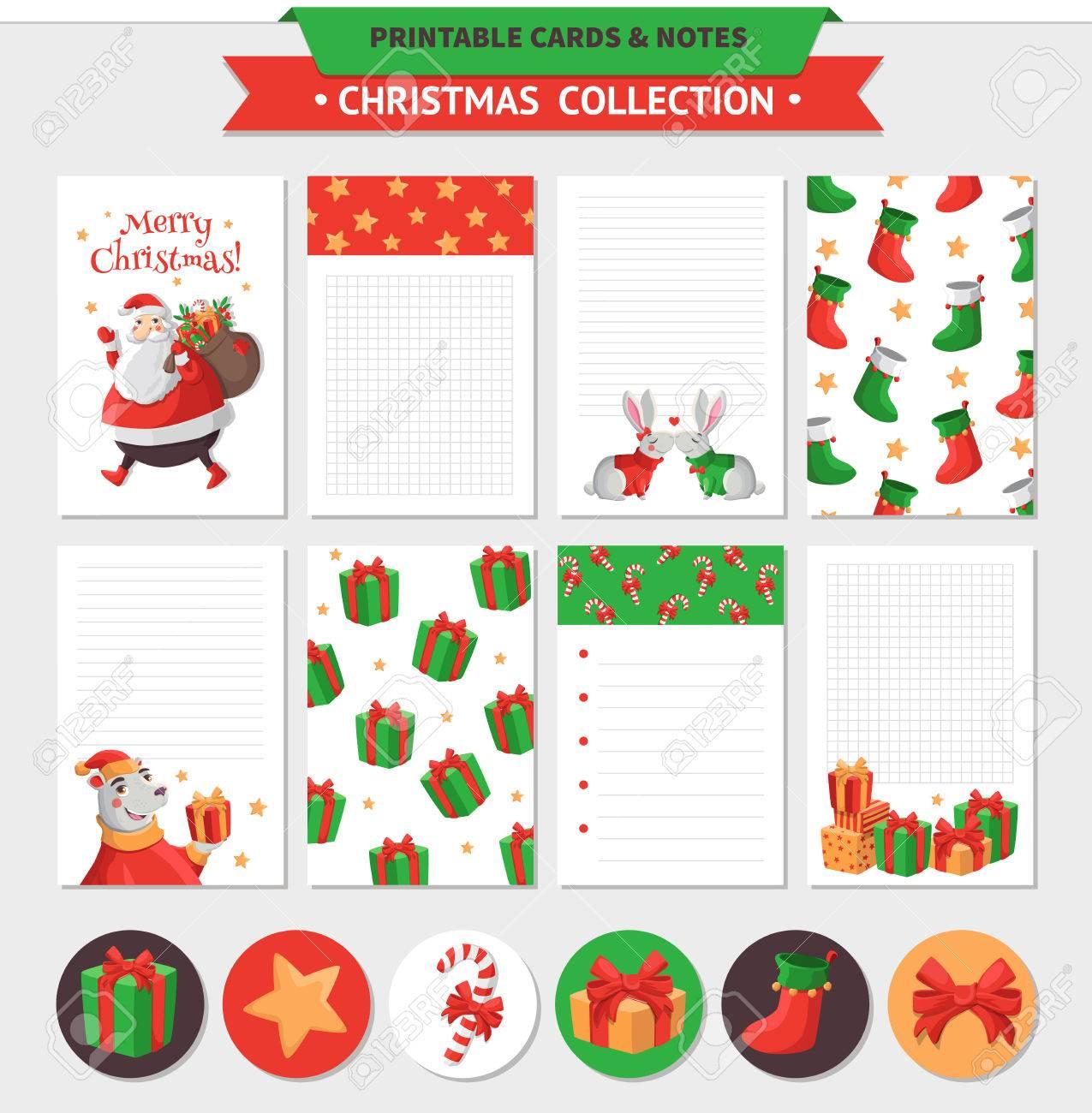Ilustración De La Navidad Feliz. Vector Tarjetas Imprimibles, Notas ...