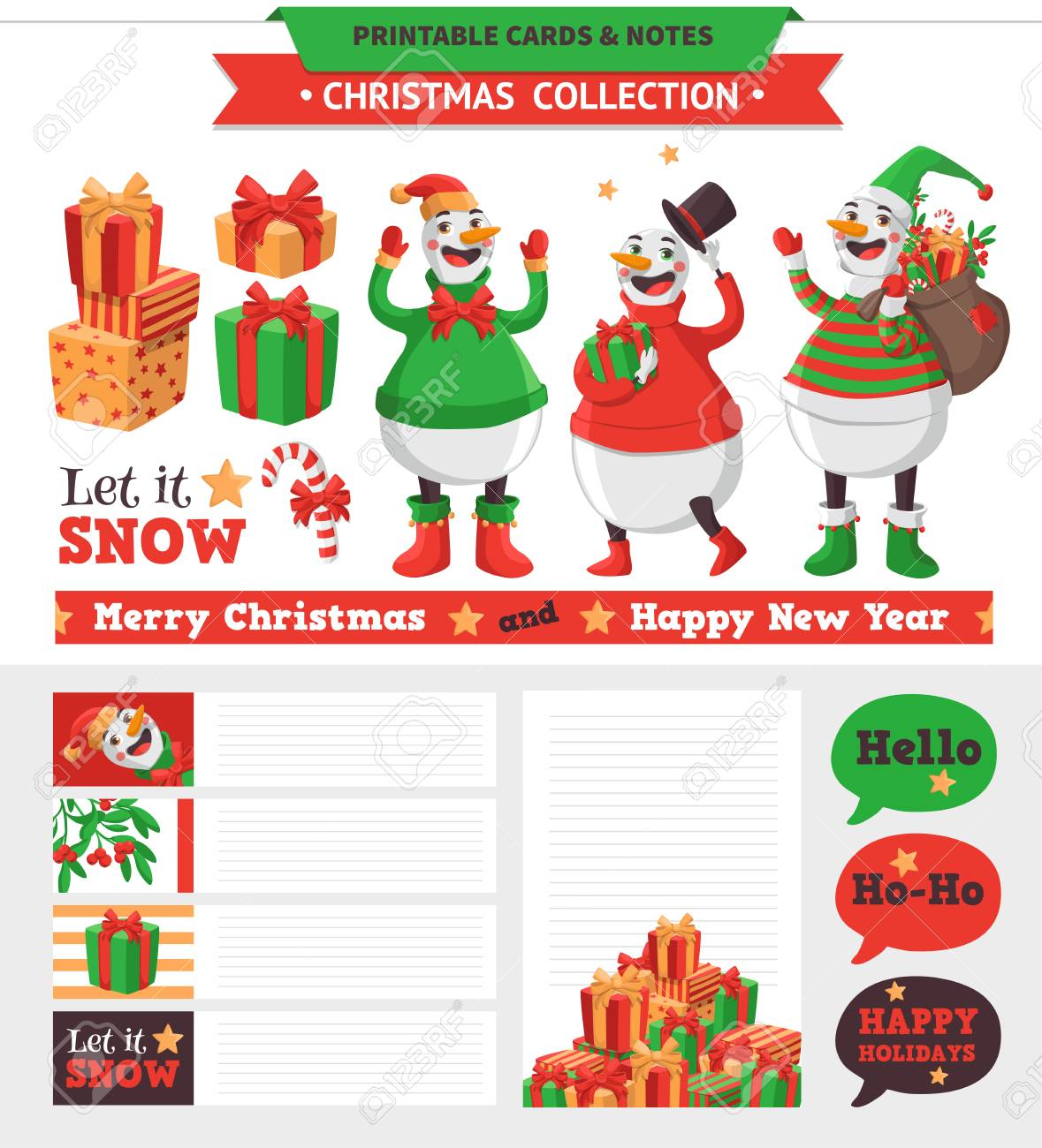 Adesivi Buon Natale.Buon Natale Illustrazione Vector Schede Stampabili Note E Adesivi Con Pupazzo Di Neve Regali E Cosi Via