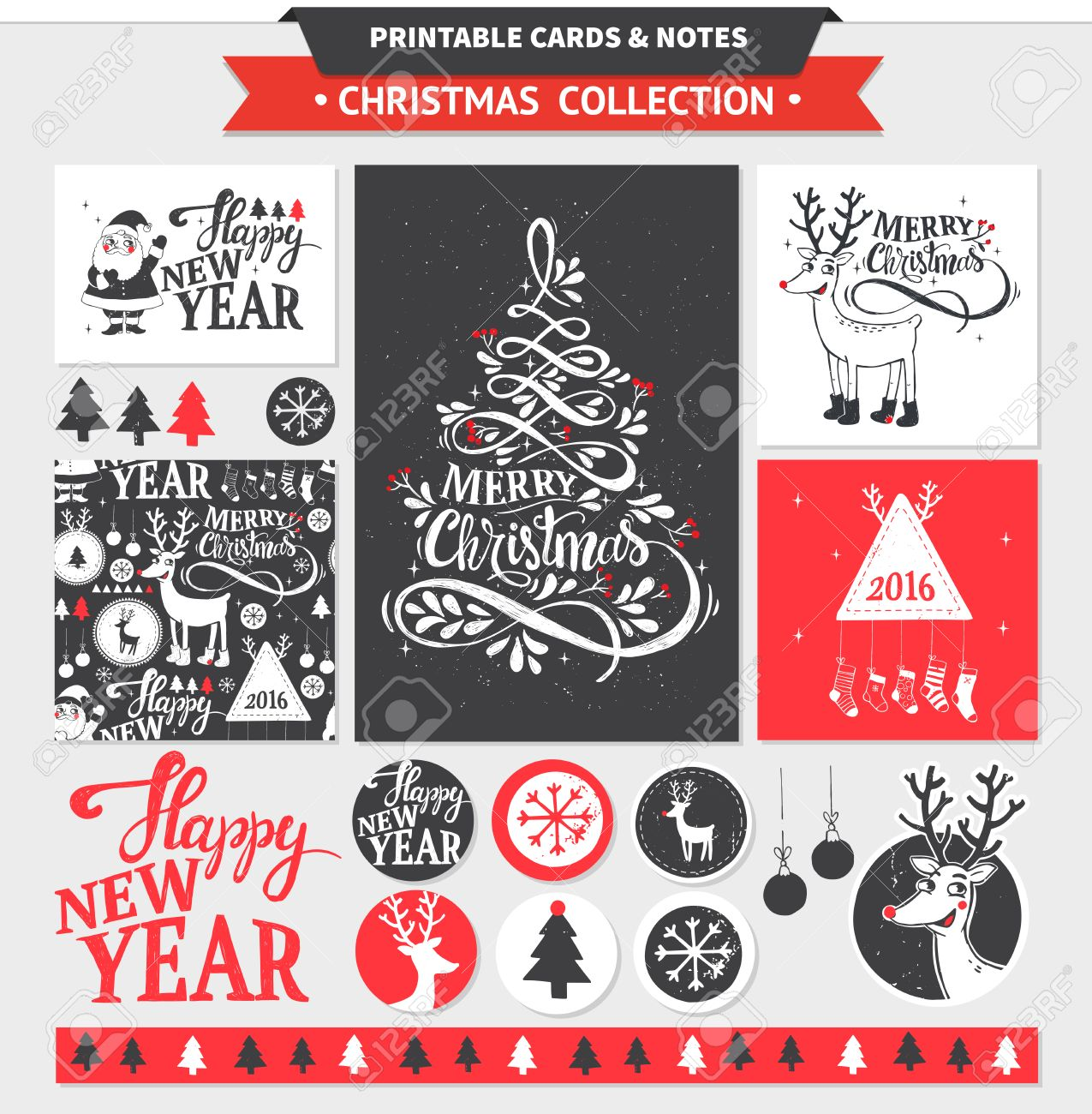 Hipster New Year and Merry Christmas set. Vector printable cards, stickers and banners with dear, santa, tree, snowflake, etc. - 48599620