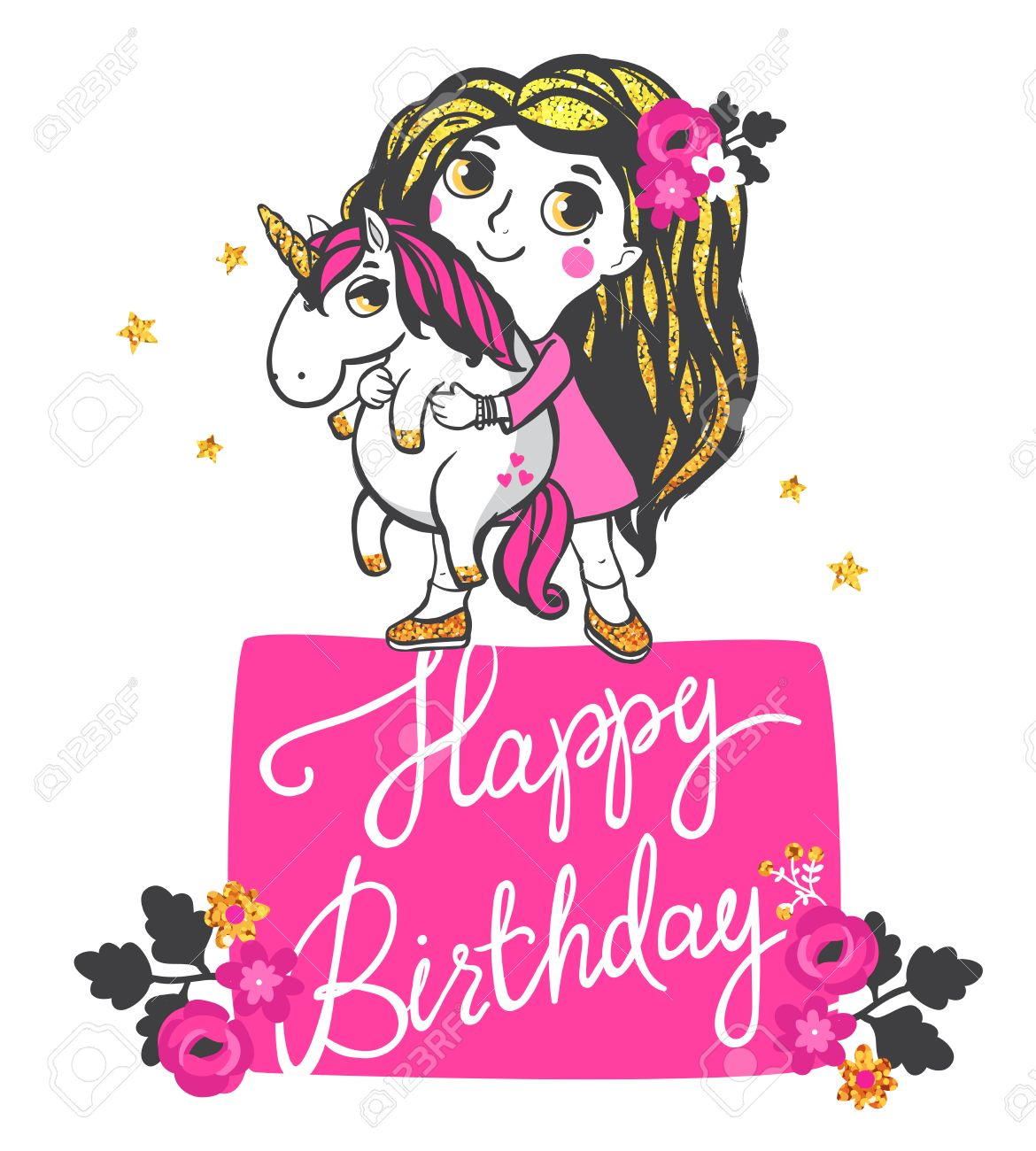 Girl With Gold Glitter Hair And Pink Unicorn Isolated On White