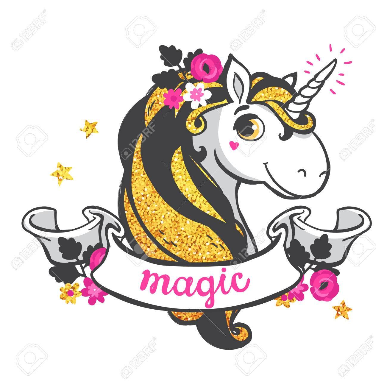 Gold glitter unicorn isolated on white background. Vector illustration. - 48638051