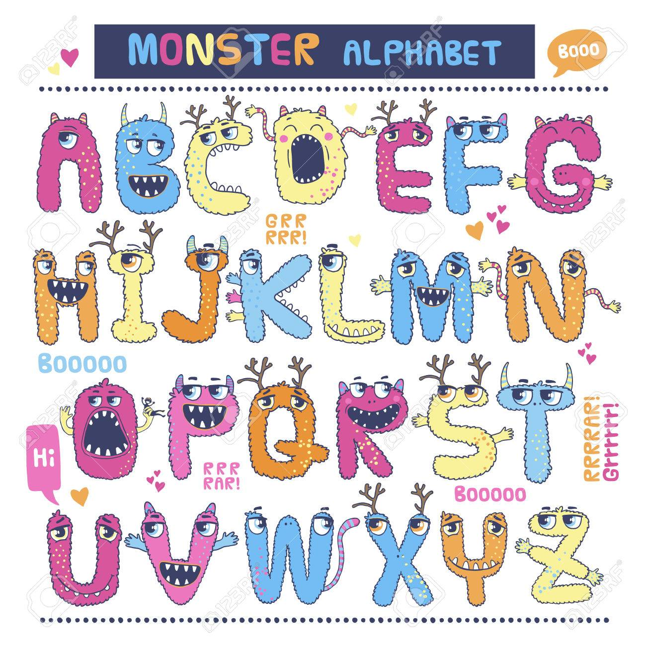 English alphabet with funny monsters. Letters from A to Z. - 49963672