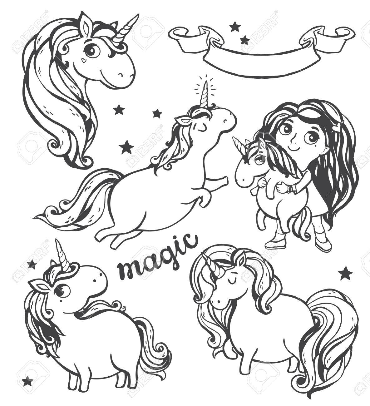 Gold glitter unicorn isolated on white background. Vector illustration. - 49963725