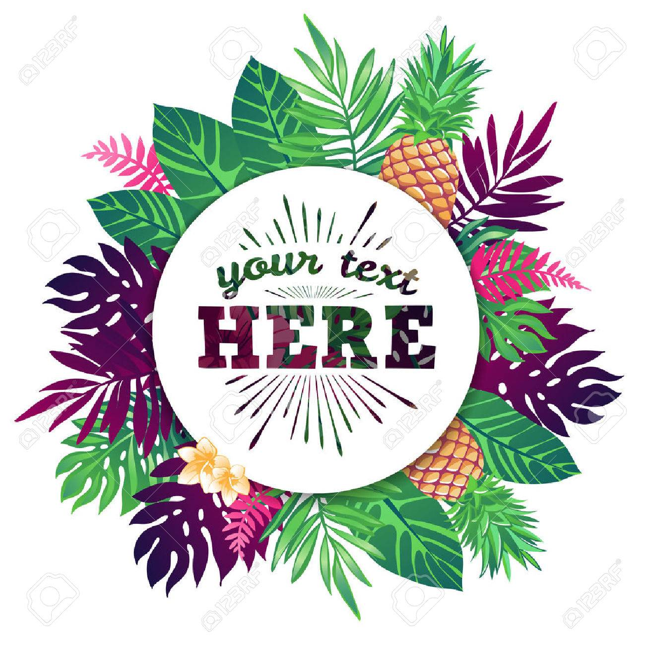 Tropical vector illustration with place for your text and tropical elements, pineapples, exotic flowers and leaves isolated on white background. - 50477572