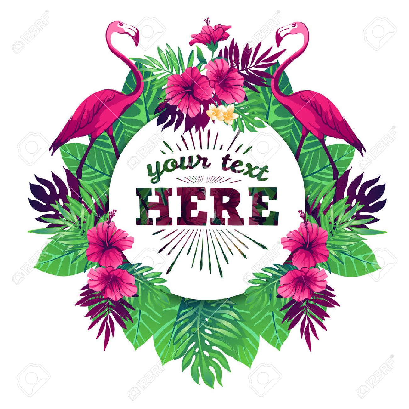 Tropical vector illustration with place for your text and tropical elements, flamingos, exotic flowers and leaves isolated on white background. - 50477574