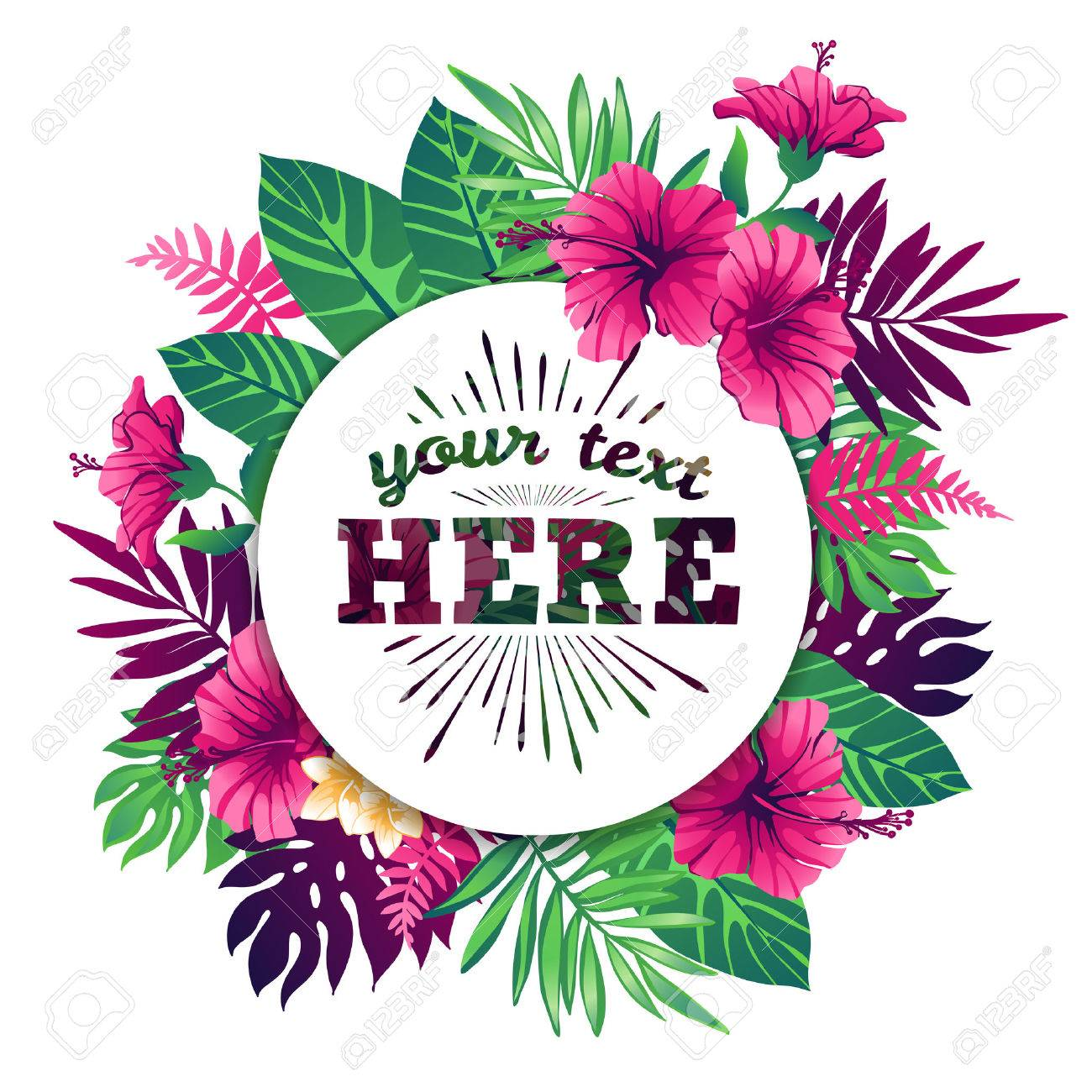 Tropical vector illustration with place for your text and tropical elements, exotic flowers and leaves isolated on white background. - 50477578