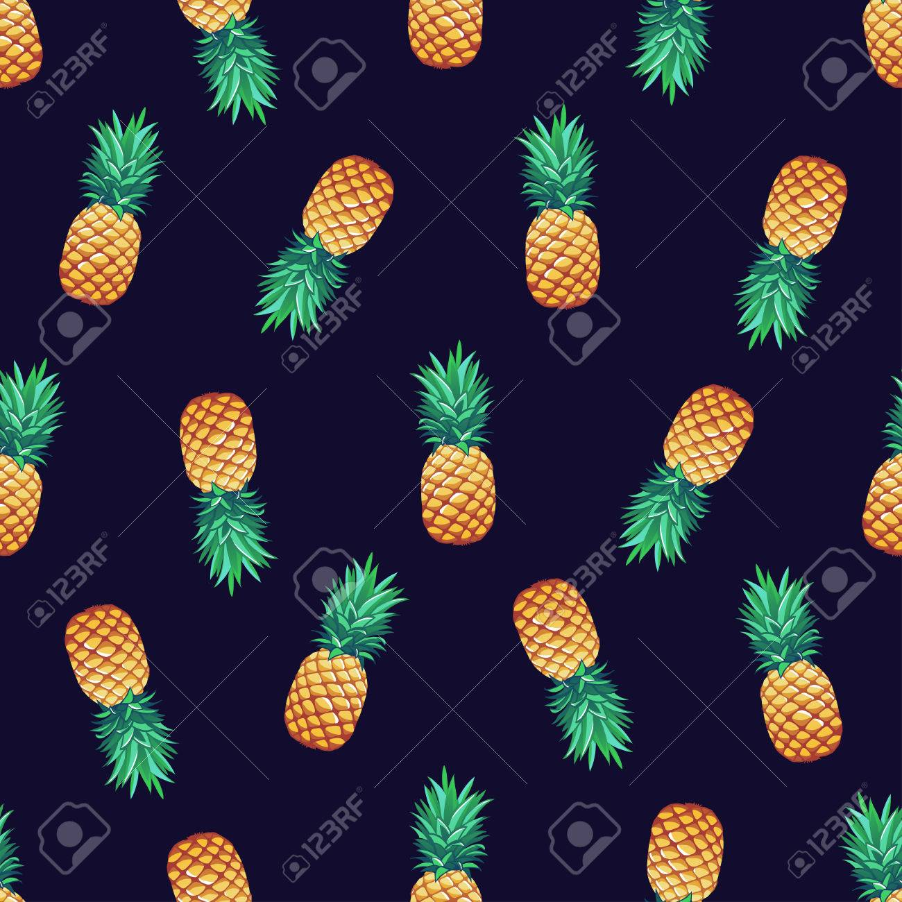 Tropical trendy vector seamless pattern with pineapples. - 50477579