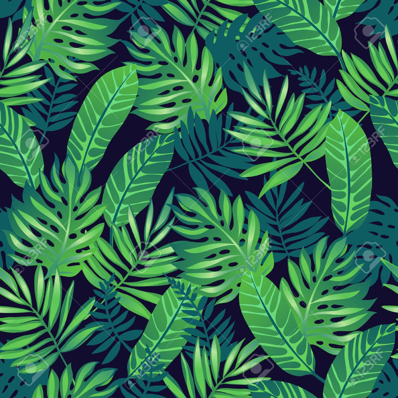 Tropical trendy seamless pattern with exotic palm leaves. - 50477582