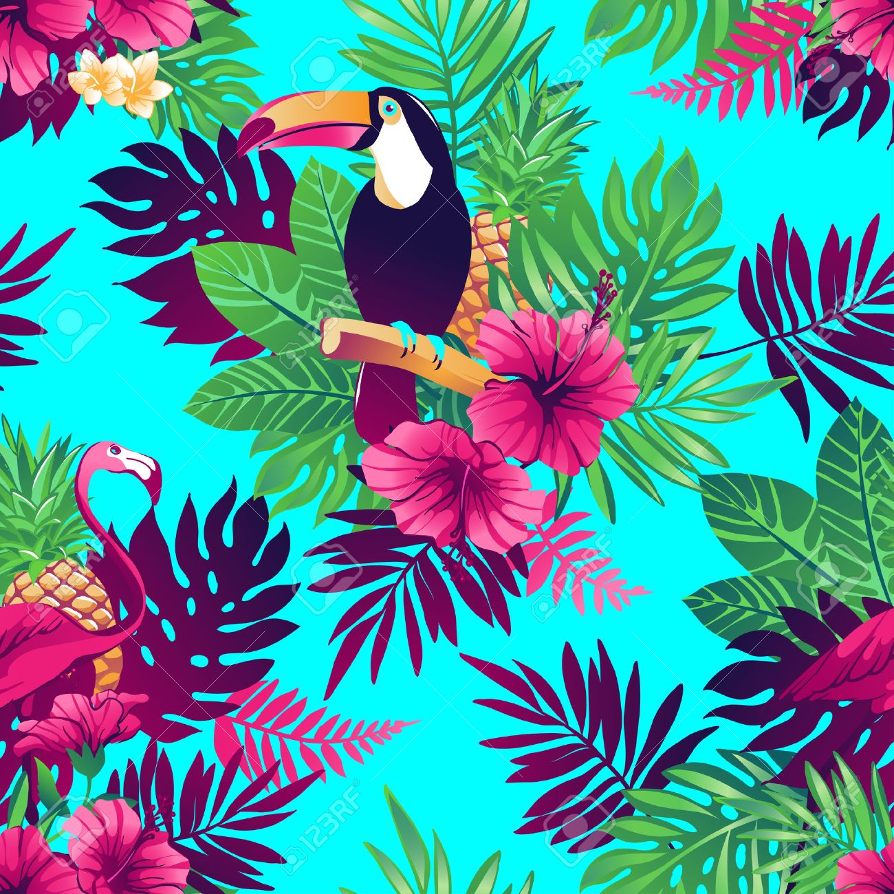 tropical trendy seamless pattern with toucans flamingos exotic