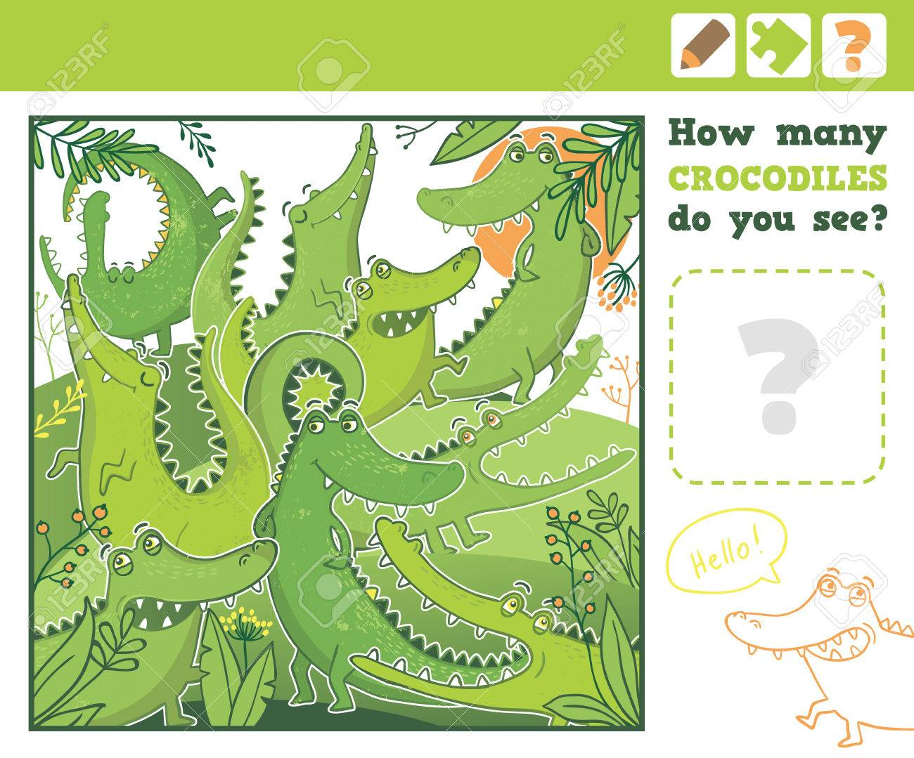 Jungle. Education Counting Game for Children. How many crocodiles do you see. Vector Illustration. - 51884655
